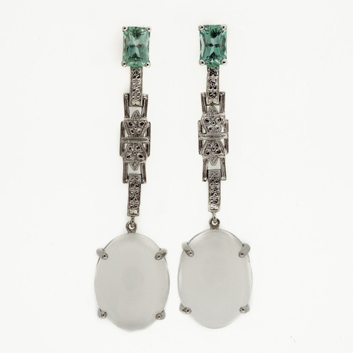 Antique Art Deco 1920  Sea Foam Aqua Beryl 14k White Gold Moonstone Earrings