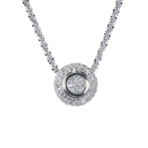 .91 Carat Diamond White Gold Pendant Necklace
