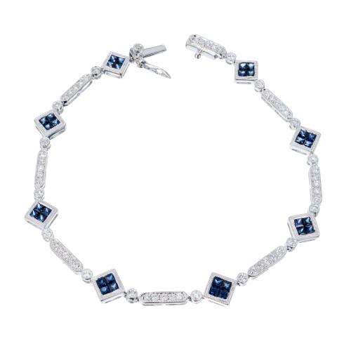 Square Sapphire Diamond Bracelet 18k White Gold
