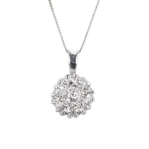 Vintage .45 Carat Diamond White Gold Pendant Necklace