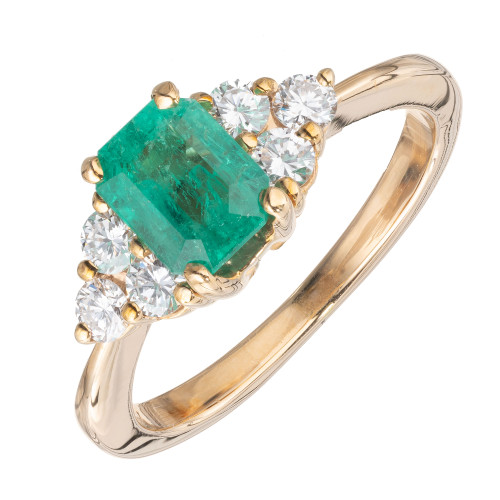 GIA Certified 1.09 Carat Emerald Diamond 14k Yellow Gold Ring