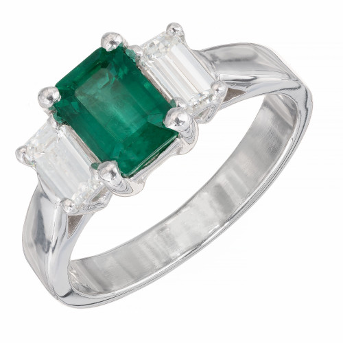 Peter Suchy GIA Certified 1.11 Carat Emerald Diamond Platinum Ring