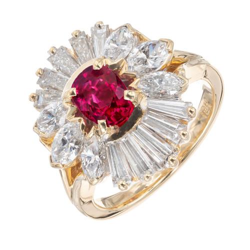 GIA Certified .80 Carat Ruby Diamond 18k Yellow Gold Cocktail Ring