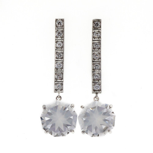 Vintage Art Deco 1940 14k White Gold 9.90ct Quartz Diamond Dangle Earrings