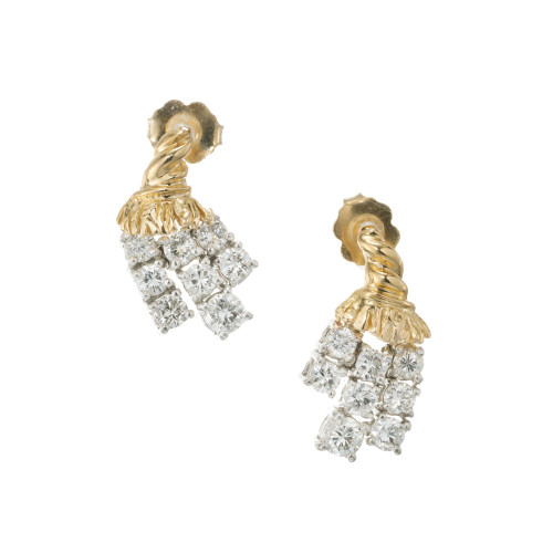 1.20 Carat Diamond Three Row Tassel Earrings