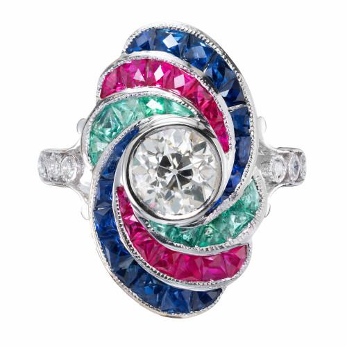 EGL Certified 1.18 Carat Diamond Ruby Emerald Sapphire White Gold Ring