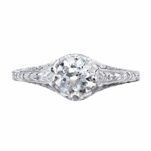 EGL Certified .70 Carat Diamond White Gold Engagement Ring