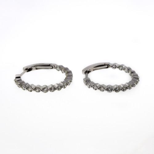 Inside Out Diamond Hoop 14k White Gold .98ct Hoop Earrings