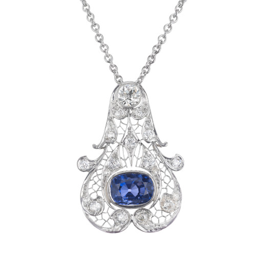 GIA Certified 5.07 Blue Sapphire Diamond Platinum Art Deco Pendant Necklace