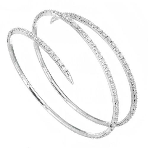 3.00 Carat Diamond White Gold Coiled Slip On Bracelet