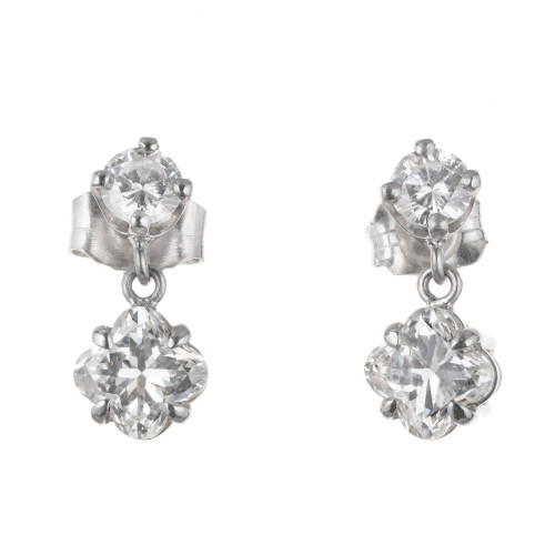 Peter Suchy 1.27 Carat Diamond Platinum Dangle Earrings