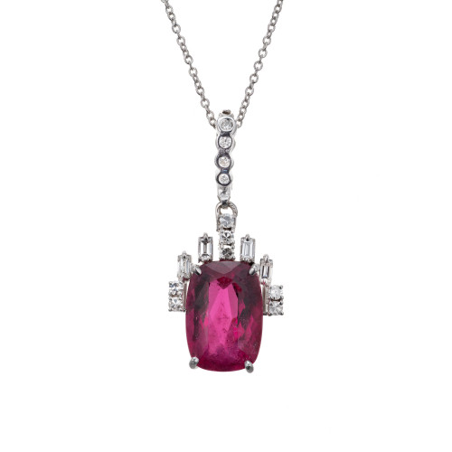 4.75 Carat Pink Tourmaline Diamond 18k White Gold Pendant Necklace