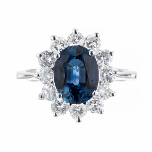 GIA Certified 2.02 Carat Sapphire Diamond 14k White Gold Ring