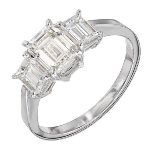 Peter Suchy GIA Certified 1.08 Carat Diamond Platinum Three Stone Ring
