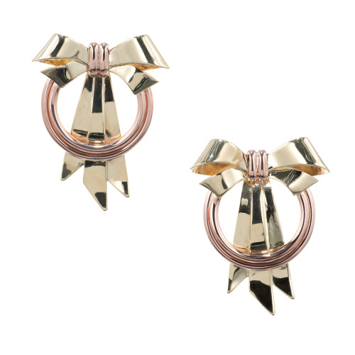 Art Deco Rose Yellow Gold Bow Earrings