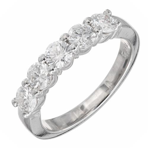 Peter Suchy 1.00ct 5 Diamond Common Prong Wedding Band Platinum