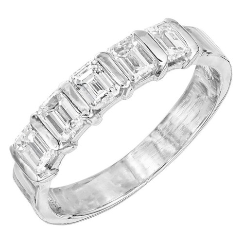 .80 Carat Diamond Platinum Bar Set Diamond Band Ring