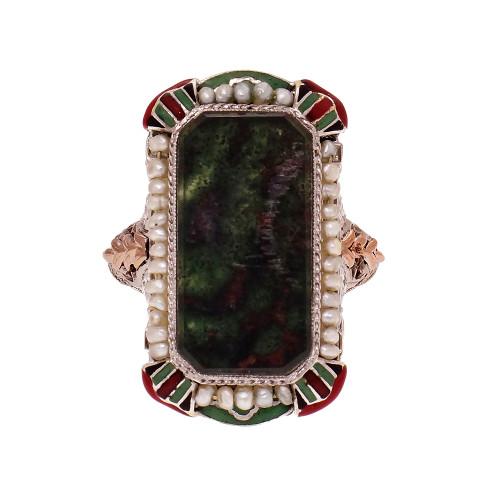 Vintage 1930 Art Deco Bloodstone Enamel 14k White Gold Ring