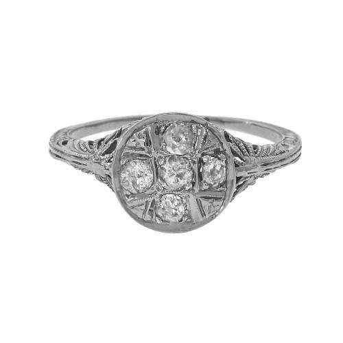 Art Deco Filigree Diamond 18k White Gold 1930 Engagement Ring