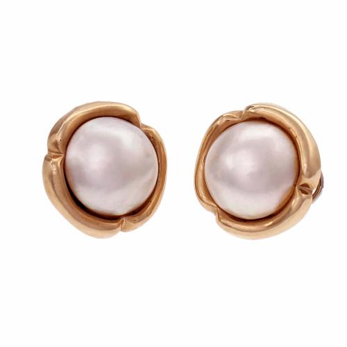 Estate 15mm Cultured Pearl Mobe Pearl Earrings 14k Yellow Gold