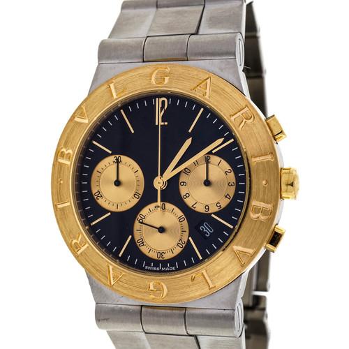 Bulgari 18k Steel Diagono Sports Chronograph 3295 Black Dial Watch