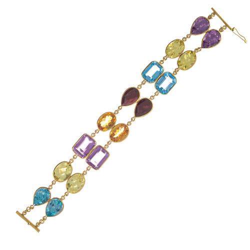 77.00 Carat Amethyst Topaz Garnet Quartz Citrine Two-Row Gold Bracelet