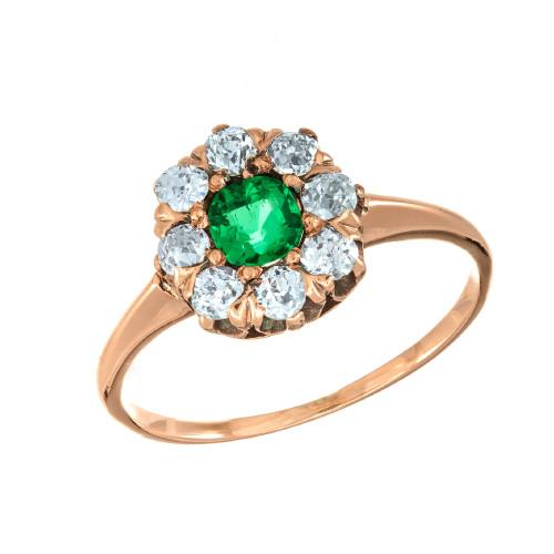 GIA Certified .25 Carat Emerald Diamond Rose Gold Victorian Ring