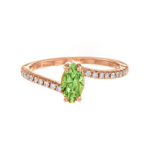 Peter Suchy GIA Certified .96 Carat Tsavorite Diamond Rose Gold Engagement Ring