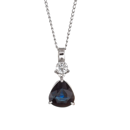 Peter Suchy 2.79 Carat Sapphire Diamond White Gold Pendant Necklace