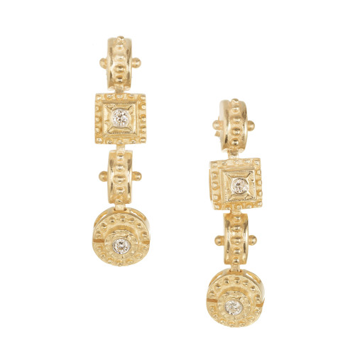 .32 Carat Diamond Yellow Gold Etruscan Dangle Earrings