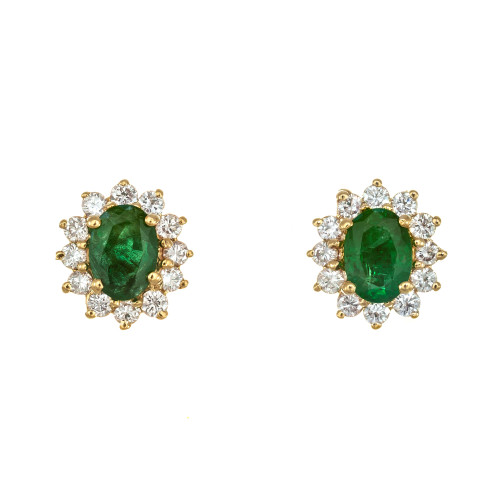 GIA Certified 1.00 Carat Emerald Diamond Yellow Gold Earrings