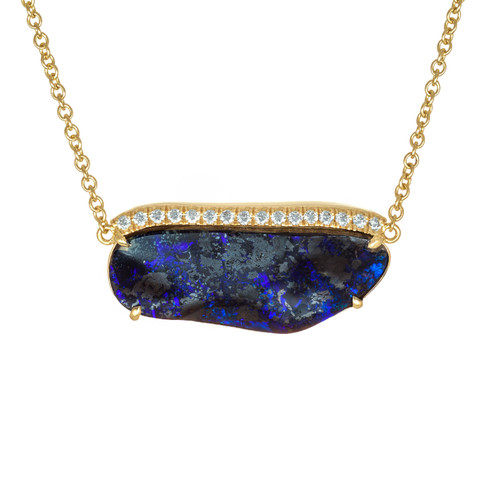 Peter Suchy Boulder Opal Diamond Pendant 18K Yellow Gold.