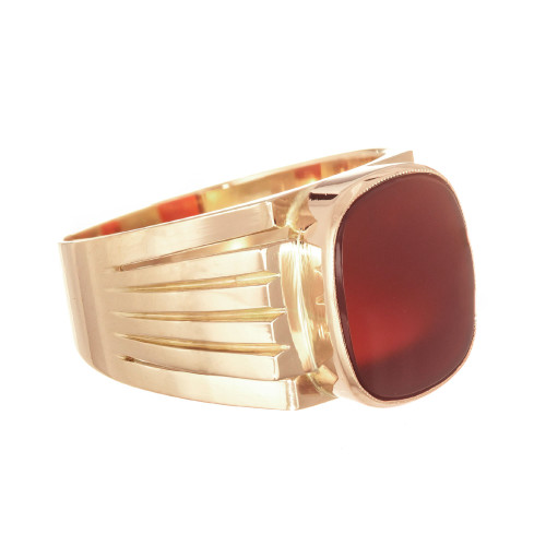 French Men's Carnelian Ring 14 Karat Rose Gold