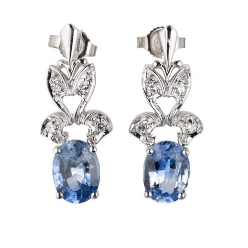 3.09 Carat Oval Sapphire Diamond Gold Dangle Earrings