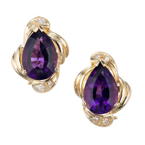 6.00 Carat Amethyst Diamond Yellow Gold Clip Post Earrings