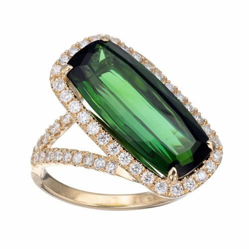 Peter Suchy 6.43 Carat Tourmaline Diamond Yellow Gold Cocktail Ring