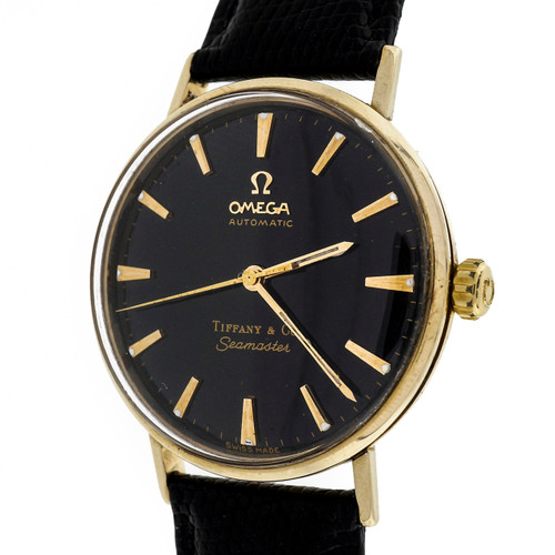 1960 Tiffany Omega Seamaster Automatic 14k Yellow Gold Black Dial Watch