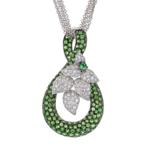 4.00 Carat Tsavorite Garnet Diamond White Gold Pendant Multi-Strand Necklace