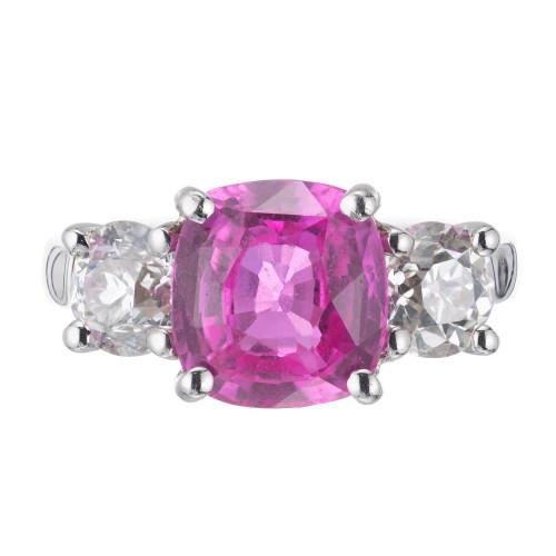 Peter Suchy GIA 4.02 Carat Pink Sapphire Diamond Platinum Engagement Ring