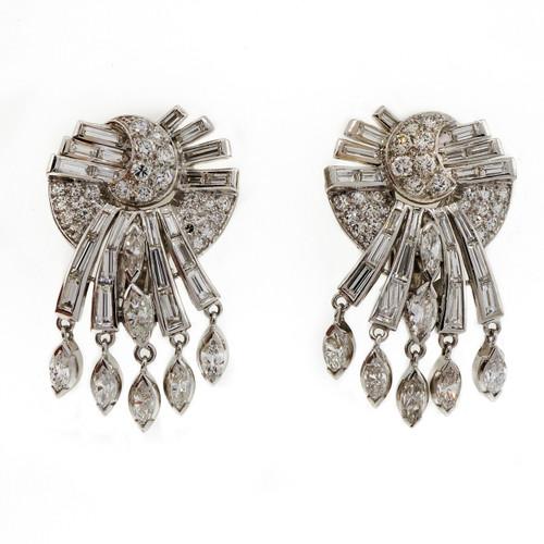 Vintage 1950 Comet Diamond Dangle Earrings 2.20ct Total 14k White Gold