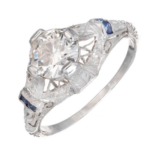 EGL Certified .92 Carat Diamond Sapphire Platinum Engagement Ring
