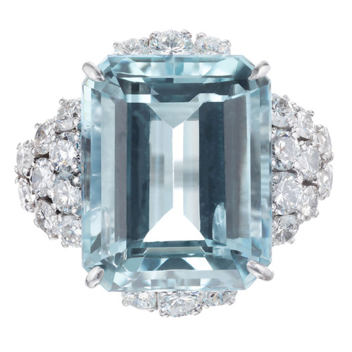 14.04 Carat Aquamarine Diamond Platinum Cocktail Ring