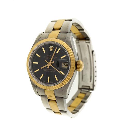 Ladies Rolex Oyster Datejust 69173 Black Dial Wrist Watch