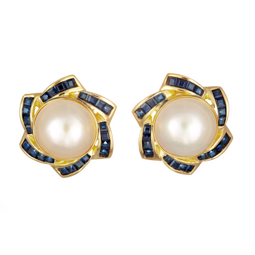 Mabe Pearl Blue Sapphire Yellow Gold Clip Post Earrings