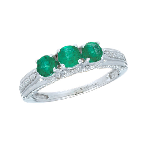 .65 Carat Emerald Diamond White Gold Three-Stone Wedding Band Ring