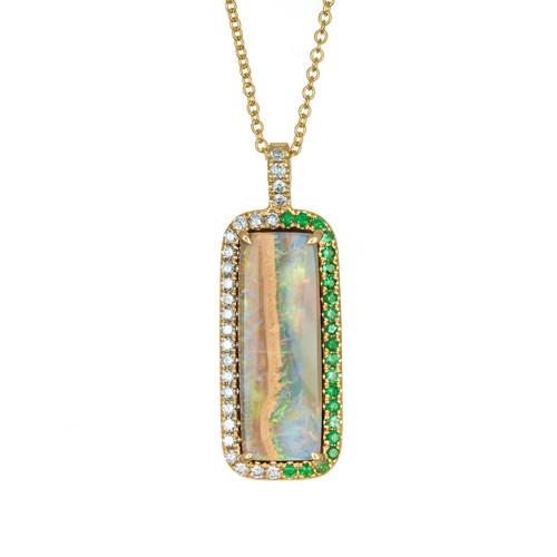 Peter Suchy 7.32 Carat Boulder Opal Diamond Yellow Gold Pendant Necklace