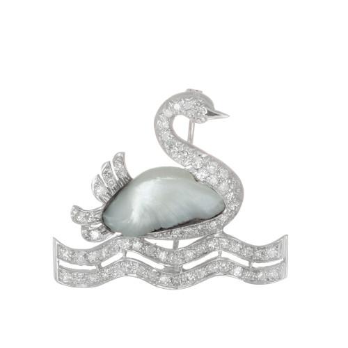 .75 Carat Diamond Peal White Gold Swan Midcentury Brooch