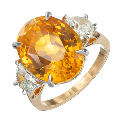 Peter Suchy GIA 14.54 Orange Sapphire Diamond Yellow Gold Cocktail Ring