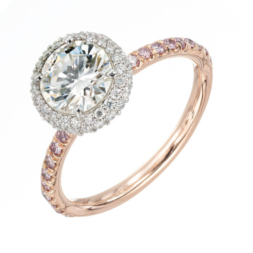 Peter Suchy .96 Carat Diamond Halo Rose Gold Solitaire Engagement Ring
