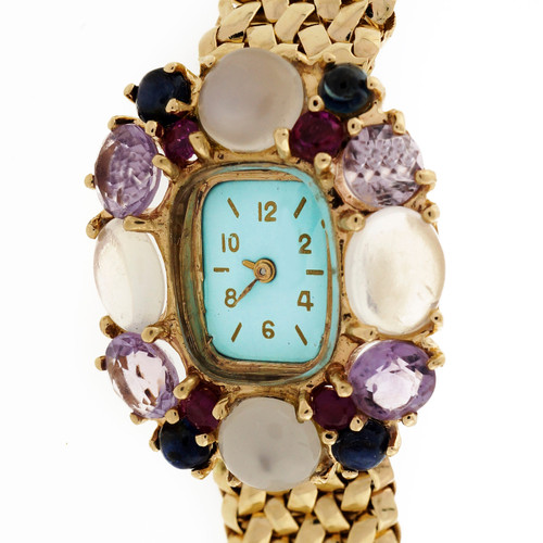 Lady's Yellow Gold Multi-Stone Wristwatch circa 1950s